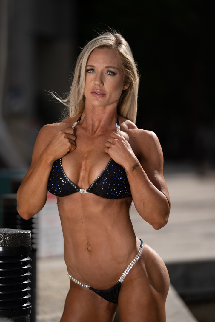 fit woman with good physique wearing a bikini